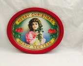 Vintage Metal Christmas Tray, Merry Christmas, Happy New Year, Victorian Style, Enesco