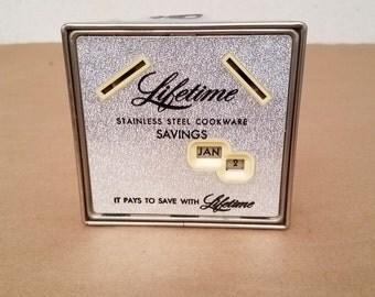 Vintage Metal Advertisement Bank With Key