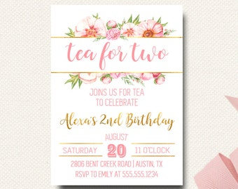 Tea for Two | Birthday Invitation Invite | Pink Peonies Floral Pink and Gold