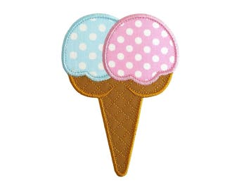 """Ice Cream Double Cone Machine Embroidery Design Applique Patterns in 5 sizes 4"""", 5"""", 6"""", 7"""" and 8"""""""