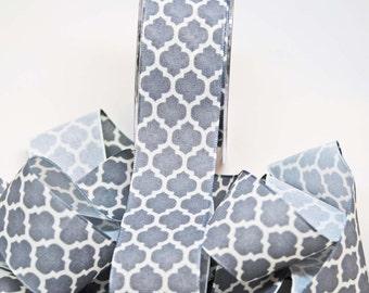 Lattice Print Ribbon Linen -- 1.5 inches -- Gray Ivory -- 2 yards Quatrefoil