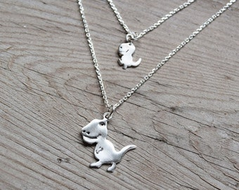 Mother - daughter layered necklaces T-Rex Dinosaur sterling silver charm necklaces Dino necklace Gift for her