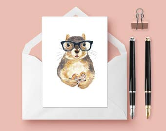 Squirrel Greeting Card - Blank Card, 5x7 Card, Squirrel Lover Gift, Squirrel in Glasses, Birthday, Celebration