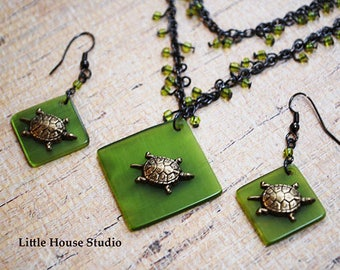 Turtle Necklace, Sea Turtle, Turtle Pendant, Turtle Jewelry, Sea Turtle Necklace,  Tortoise Necklace, Turtle Earrings, Necklace Set