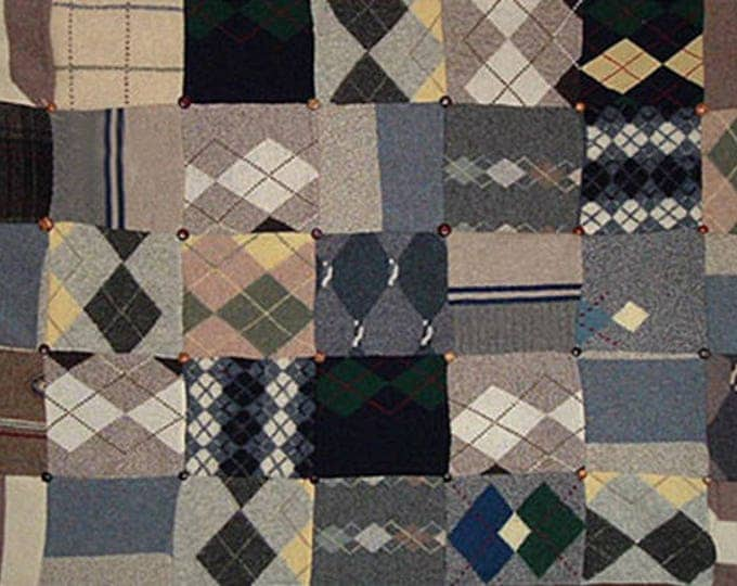 "My ""Argyle Nation"" Wool Sweater Quilt — I can make one similar for you!"
