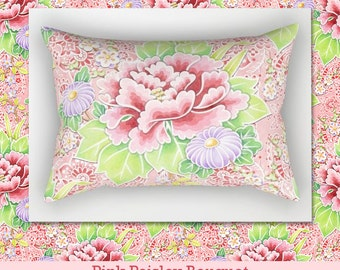 Pink Floral Paisley rectangular lumbar pillow cushion home decor watercolour Kimono Bouquet pattern by designer Patricia Shea