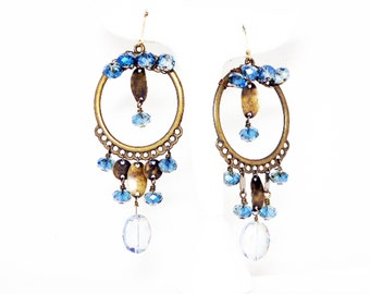 Victorian Revival Dangling Earrings - Pierced Earrings w Dangling Hoops & Crystal Blue Glass Beads - Brass Tone 1980s 1990s Statement Jewels