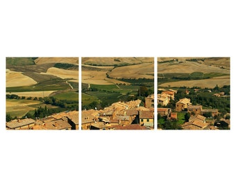 """TRIPTYCH Fine Art Color Photography of Tuscany - """"View Over Montalcino"""""""