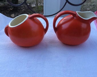 Vintage Orange Pottery Sugar and Creamer Set Moderne Shape Fiesta Ware Colors Fun Shapes