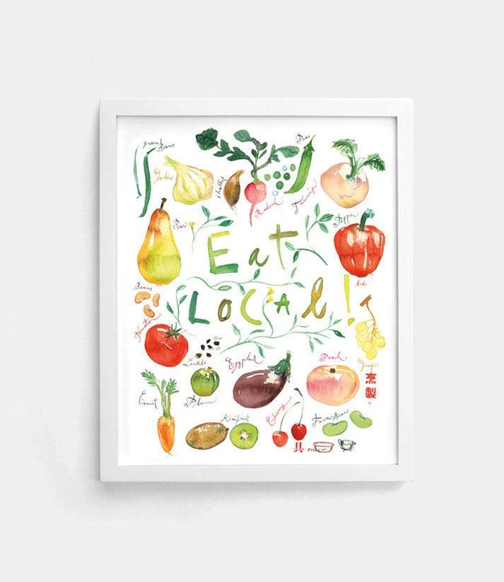 Kitchen Decor Vegetables: Eat Local Poster Kitchen Decor Food Art Vegetable Print