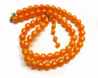 Vintage Orange Moonglow Beaded Necklace Tangerine Beads Glowing Beaded Choker Gift for Her for Mom Under 25 Jewelry