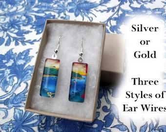 Hiroshige earrings, bay landscape earrings, art earrings, small glass earrings, colorful, red, blue, yellow, green, ships sailing