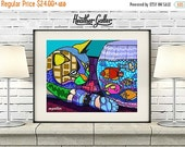 50% Off Today- Cat Art Poster Print of Painting Fish Bowl Modern Abstract Folk Art (HG265)