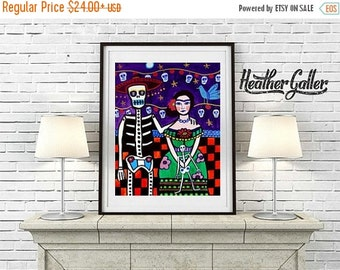 50% Off Today- Mexican Folk art Art Print Poster by Heather Galler Frida Kahlo, Day of the Dead Print (HG663)