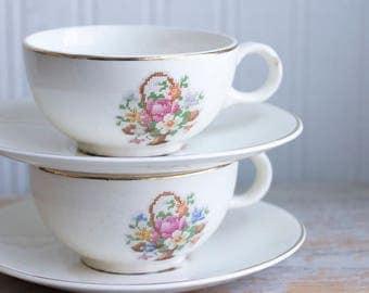 Vintage Tea Cup Saucer Set, Cross Stitch Flower Basket Set, Cottage Tea Party, Mid Century China, Tea for 2 Two
