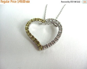 On Sale 1980s Sterling Silver Necklace. Heart Pendant. 2 tone sparkles