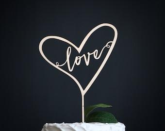 love wedding cake topper   heart wedding cake topper   wood cake topper   love cake topper   rustic cake topper topper   heart cake topper