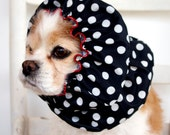 Black Polka Dot Waterproof Dog Snood,  Stay-Put 3 Rows Elastic Thread, Rain Hat, Cavalier King Charles or Cocker Snood