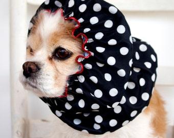 Black Polka Dot Waterproof Dog Snood,  Stay-Put 3 Rows Elastic Thread, Rain Hat, Cavalier King Charles or Cocker Snood