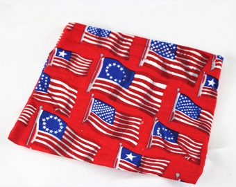 Flag Snack Bag - Reusable Lunch Sack - Fourth of July Snack Bag - Food Pouch - Ready To Ship