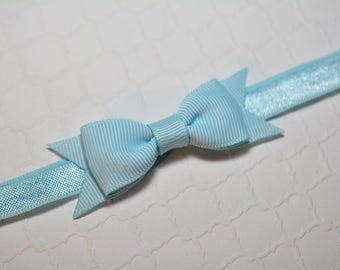 Light Blue Bow Headband / Small Baby Bow Headband / Easter Headband / Baby Shower Gift / Aqua Baby Headband / Baby Girls Hair Accesories