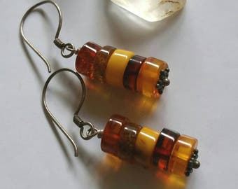 Honey Hues Natural Baltic Amber Cylinder Drop Earrings