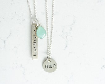 Layered Love necklace set sterling Silver with bezeled gemstone hand stamped Roman numerals date couples initials Anniversary