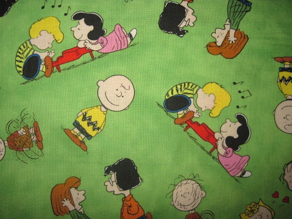18x22 Peanuts Cotton Fabric Green Happiness Is Snoopy