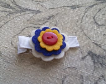 Felt Flower Hair Clip With Button / Non slip / Ready To Ship