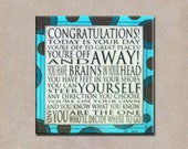 Congratulations Quote - Dr. Seuss 6x6 Word Art Print - Art Block Graduation Teal Brown Dots - Today is your Day - brains in your head