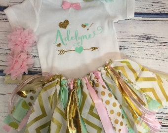 Personalized baby onesie and matching fabric skirt