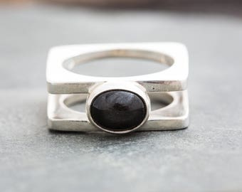 NEBULOUS ONYX POOL Silver Ring by Jungle Tribe Couture