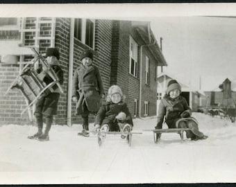 Toboggans and Sleds Ready For WINTER FUN Photo Postcard circa 1910s