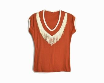 Vintage 70s Fringed Rust Cap Sleeve Tee / Deep V-neck Top - women's xs