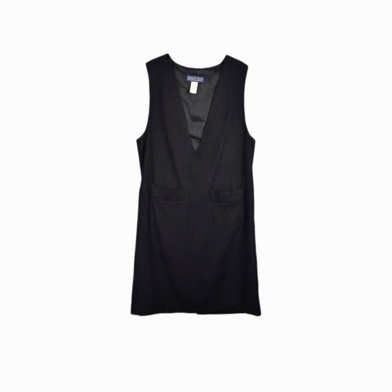 Vintage Black Wool Shift Dress  / 90s Minimalist Dress - women's medium