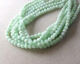 Jade Round Beads, Gemstone Beads, Mint Green, Jewelry Making. (1)