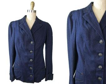Edwardian Navy Blue Wool Walking Jacket with Soutache Trim Small