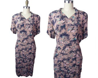 1940s Printed Rayon Tiered Peplum Dress Large