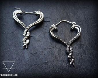 Boucles d'oreille laiton , plaqué argent # cobra snake earrings # silver plated earrings