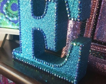 Letter E, turquoise teal glitter with blue AB rhinestones, glittered, initial, name, freestanding, sparkly