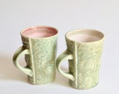 2 x Flannel Flower mugs in pale green and pink - Custom Order for Days Eye