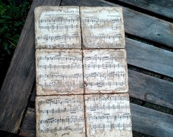 Classical Music Coasters from re purposed tiles, vintage Classical sheet music, set of six, P. Tchaikovsky Chan Sans Paroles
