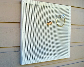 Earring holder, Magnetic photo or memo display, accessory holder, ready to ship in off white 13 x 13 inches