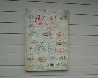 Magnet board Bicycettes Poster, aged and slightly distressed over a box frame with french bicycle titles and words, reds, greens and blues