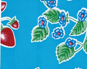 Large Round Strawberry Light Blue Oilcloth Tablecloth