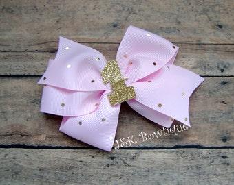 Birthday hair bow, big bows, hair accessories, Birthday hair bow XL Classic bow, Glitter Gold One, 1st Birthday, 2nd Birthday, 3rd Birthday