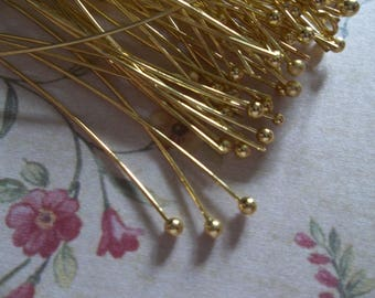 Gold Ball End Headpins - 26 gauge - 2 inch Head Pins - Qty 80 pieces