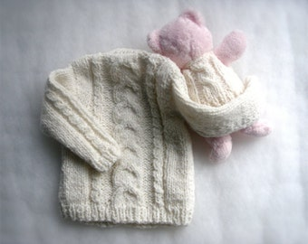 Baby cardigan 3-6 months Baby Girl sweater with little teddy bear Girls clothing Gift for girl Handmade Baby Knit Infants  Baby fashion