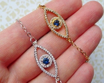 Evil Eye Necklace // Silver or Gold Plated Eye Necklace with Clear and Blue CZ Bohemian Boho Third All Seeing Eye Hippie Gypsy Witch Occult