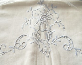 Pair Pillowcases Vintage Cotton Blue Madeira Style Embroidery New Unused